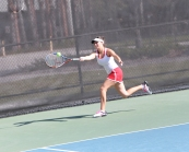 Sophomore Emily Hewand chases a ball down during the Gator Bowl in Gainesville, Fl