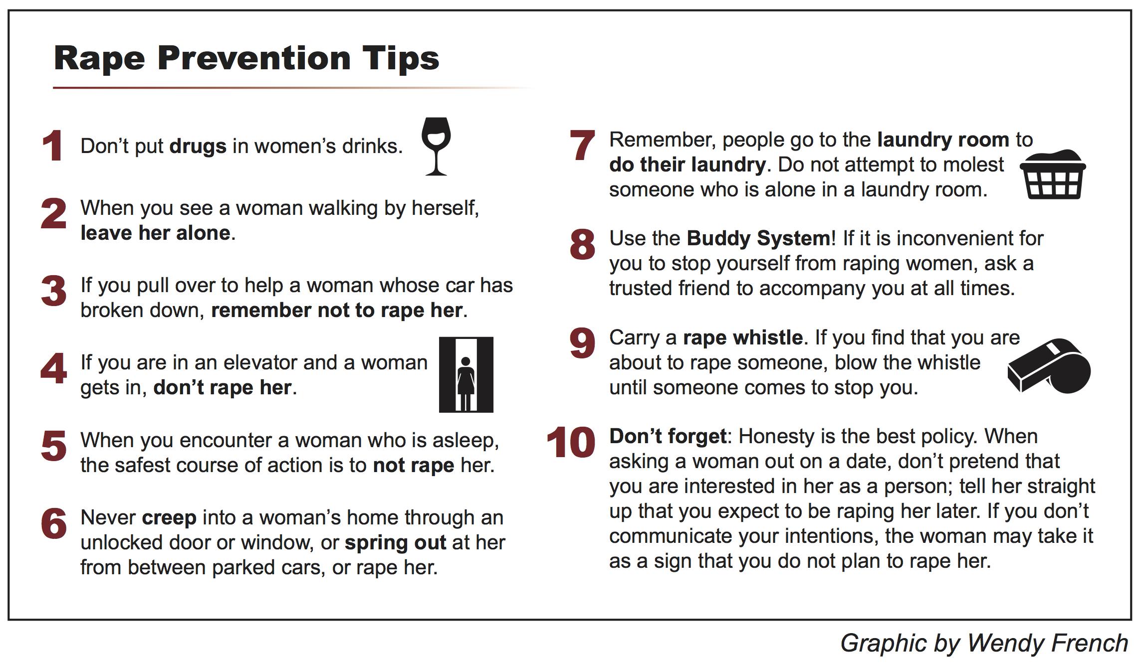 Silverman S Ten Rape Prevention Tips Are Not Sexist Est